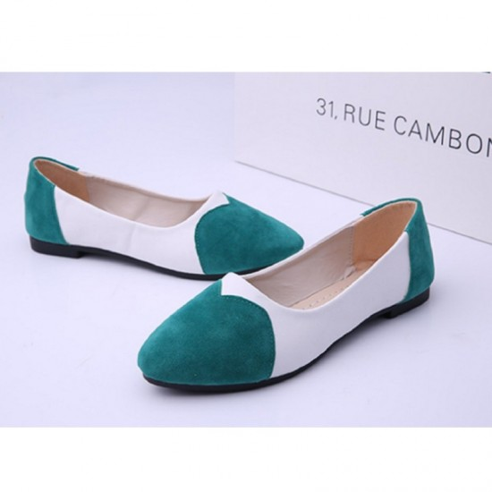 Green Color Tide Shallow Mouth Round Flat Shoes