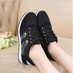 Lattice Pattern Black Color Canvas Sneaker Shoes