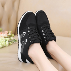 Lattice Pattern Black Color Canvas Sneaker Shoes