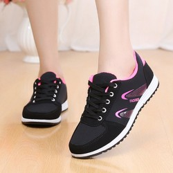 Lattice Pattern Black & Pink Color Canvas Sneaker Shoes
