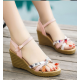 New European Woman Wedge Heels sandals-Pink