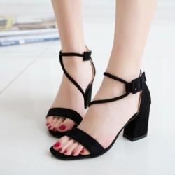 Women Word Buckle Black High Heels Sandals