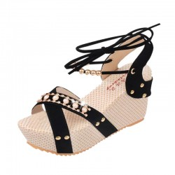 Black Color Thick Crust Wedge Sandals For Women