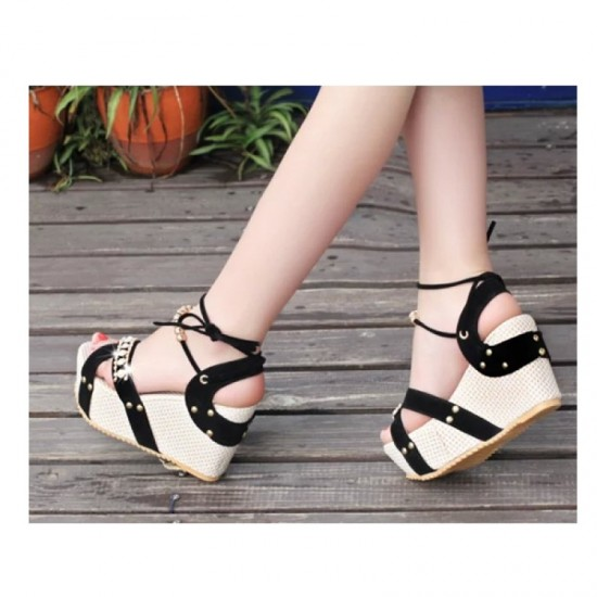 Black Color Thick Crust Wedge Sandals For Women image