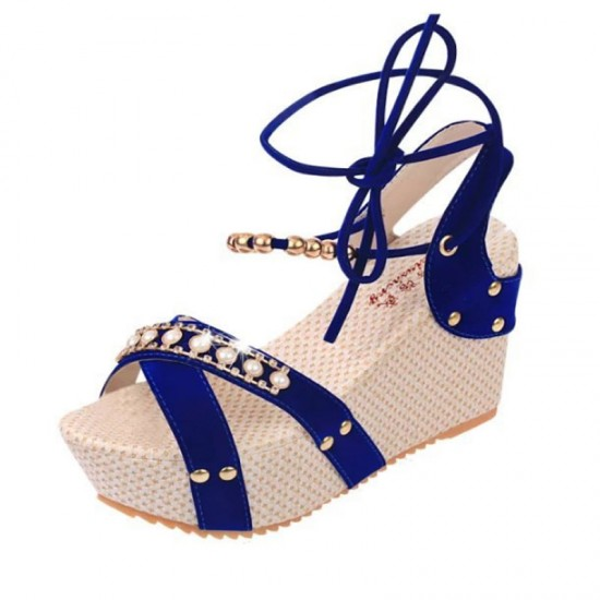 Blue Color Thick Crust Wedge Sandals For Women image