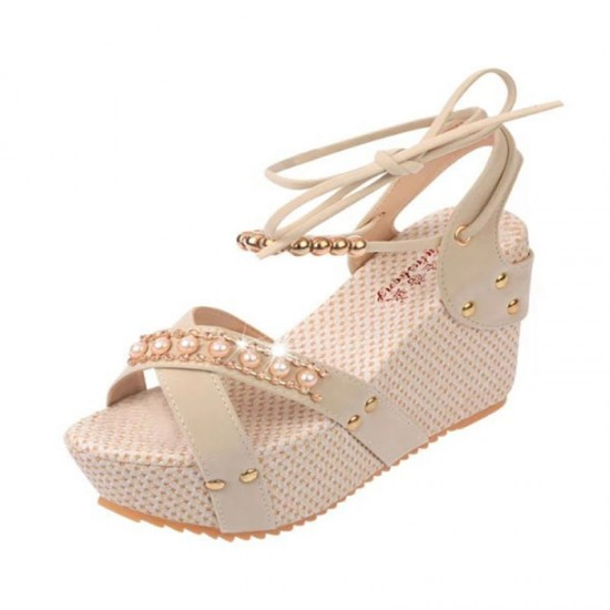 9519036370c Buy Cream Color Thick Crust Wedge Sandals For Women