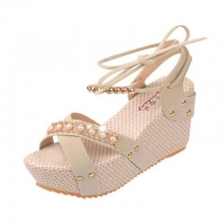 Cream Color Thick Crust Wedge Sandals For Women
