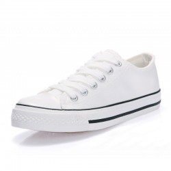 Women White Color With Black Lines Comfty Canvas Shoes For Women