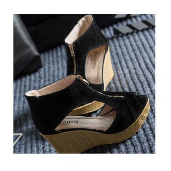 Black Color Suede Wedge Sandals For Women