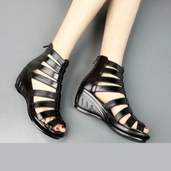 c6a90da75 Buy Women Fashion Black Color Fish Mouth Leather Shoes