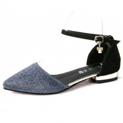 Sliver Color Velvet Summer Flats For Women