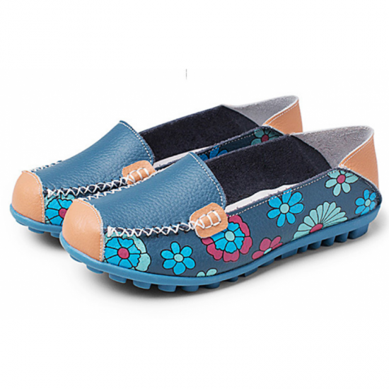 Blue Color Comfortable Soft Mom Loafer Flats For Women