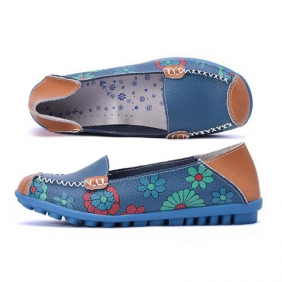 Blue Color Comfortable Soft Mom Loafer Flats For Women image