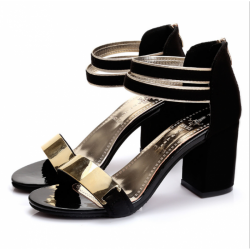 Black Color Open Toed Zipper Sandals For Women