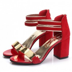 Red Color Open Toed Zipper Sandals For Women