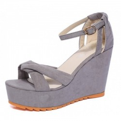 Grey Color High Heel Cross Strap Wedge Sandals For Women